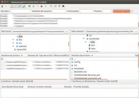 acceder al tema bootstrap mediante filesilla