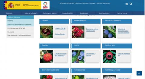 Vista de la web del Centro Nacional de Educación Ambiental