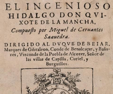 Portada de El ingenioso hidalgo Don Quixote de La Mancha de 1605
