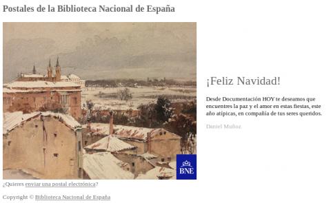 Postal enviada desde el servicio de Postales de la Biblioteca Nacional de España