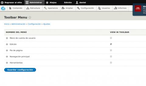toolbar menu settings