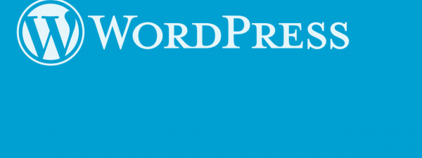 Logotipo de WordPress sobre fondo azul