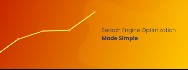 "Sobre un fondo naranja y una línea de un gráfico, el texto ""Sear Engine Optimization Made Simple"""